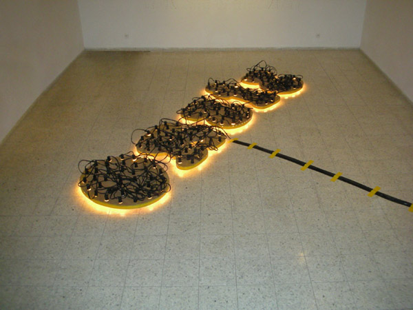 Inverted Fantasy -Light installation-, Mixed media, 115 x 380 cm, 2007