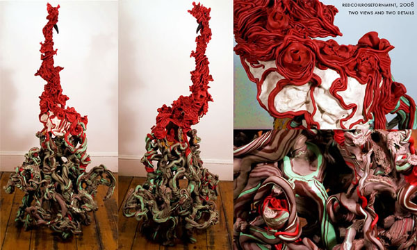 redcoilrosetornmint, 63.5 x 37 x 32.5 inches, Apoxie-Sculpt