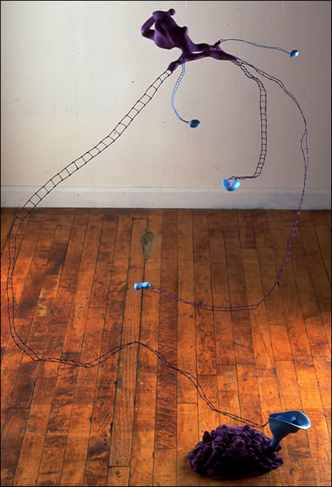 Rate of Exchange, 85 x 69 x 64 inches, plastic, hydrocal, wire, acrylic paint