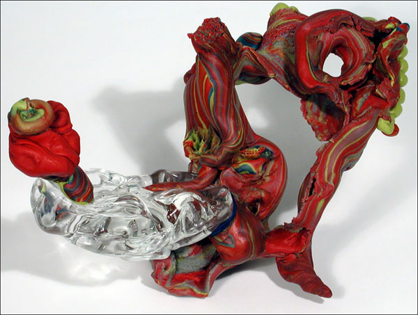 flowerglasstornhole, 15 x 8 x 8 inches, apoxie sculpt, glass