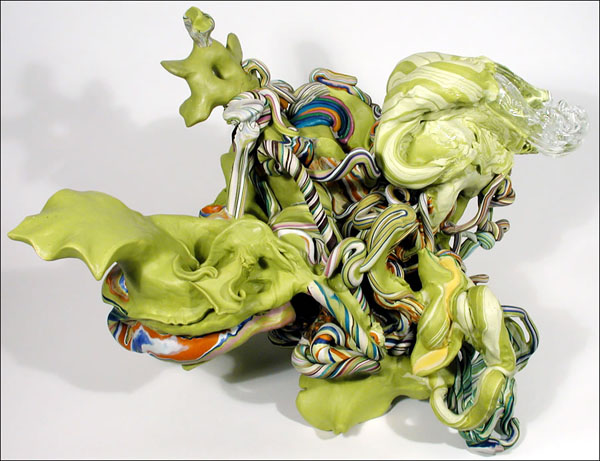 yellowrainbowglasshand, 30 x 20 x 16 inches, apoxie sculpt, glass