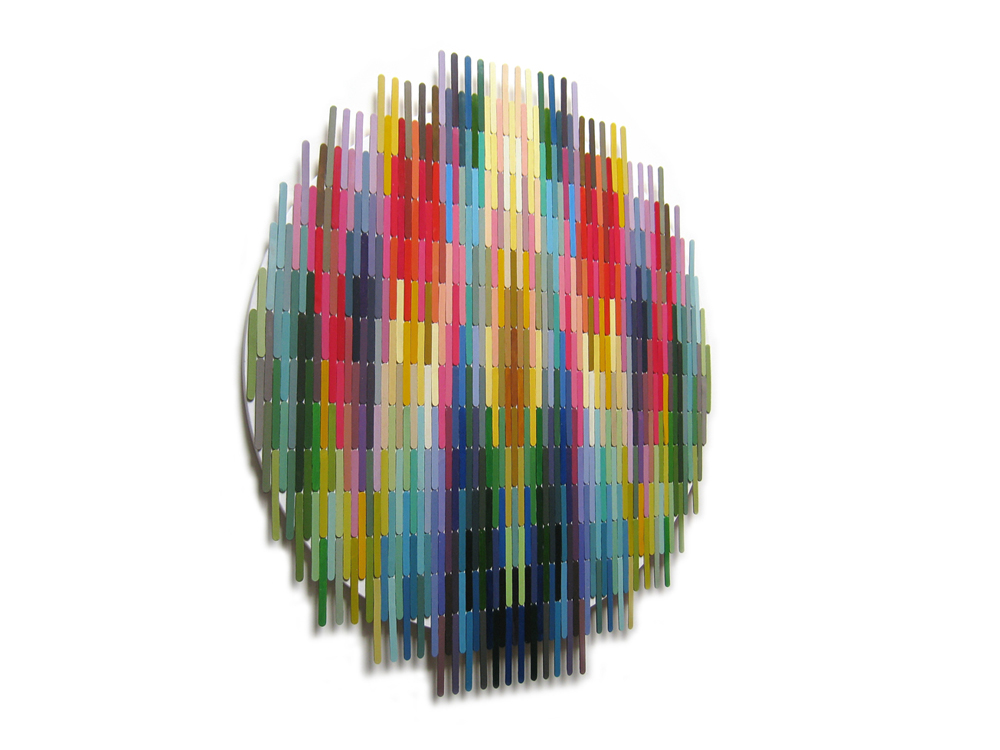 pixels 9, acrylic painting wood sticks on board, 30 x 36 x 0.9 inches, 2010